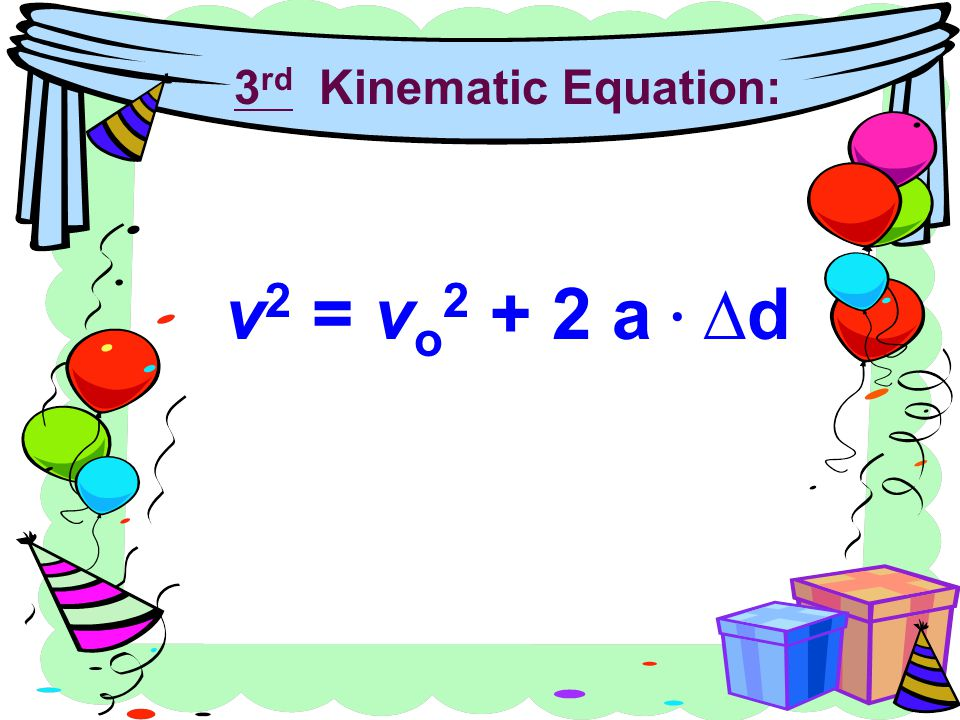 3rd Kinematic Equation: