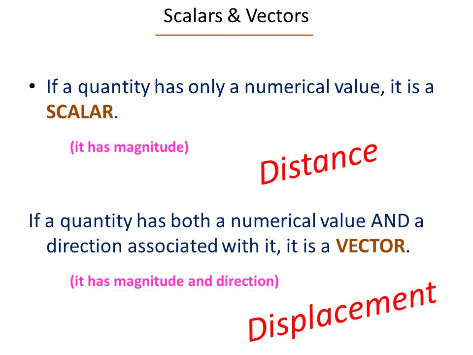 Distance Displacement Scalars & Vectors