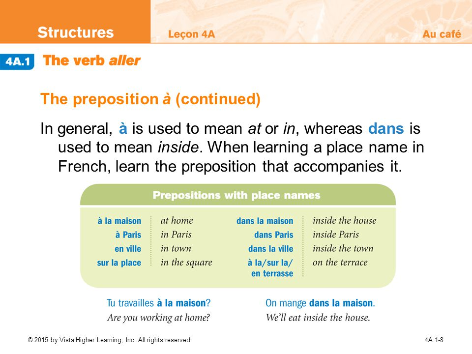 The preposition à (continued)