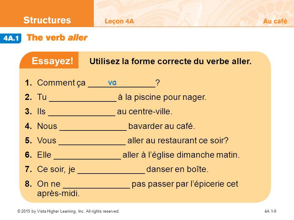 Essayez! Utilisez la forme correcte du verbe aller.