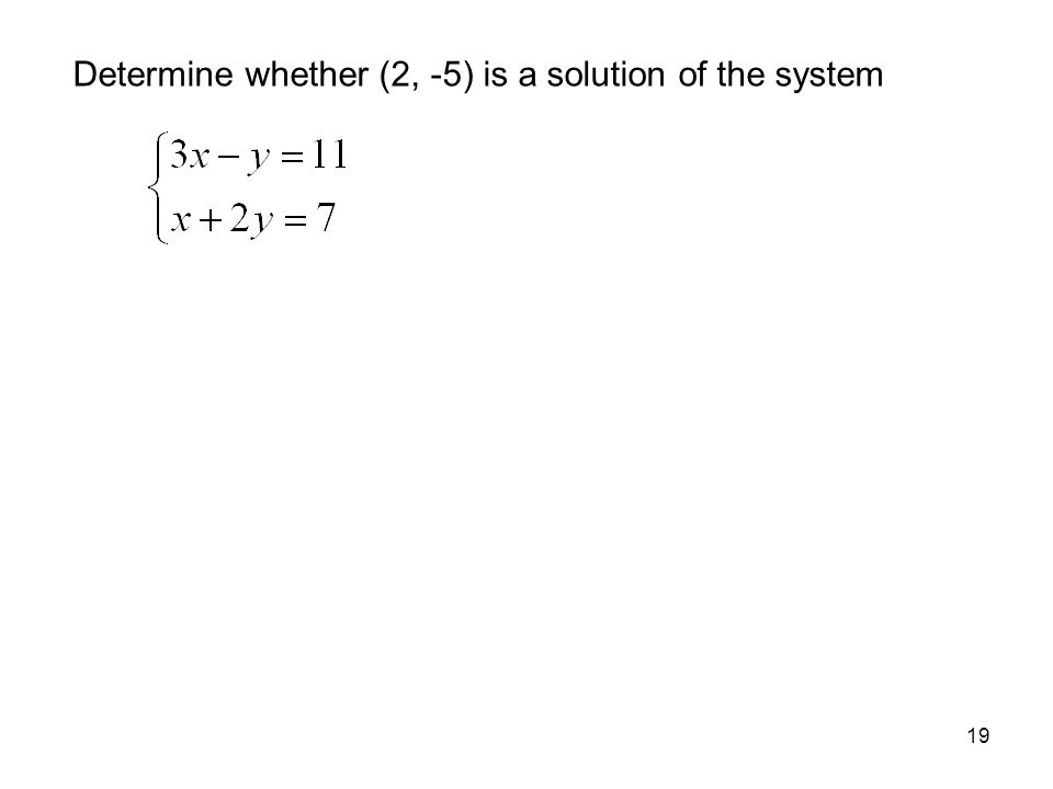 Determine whether (2, -5) is a solution of the system