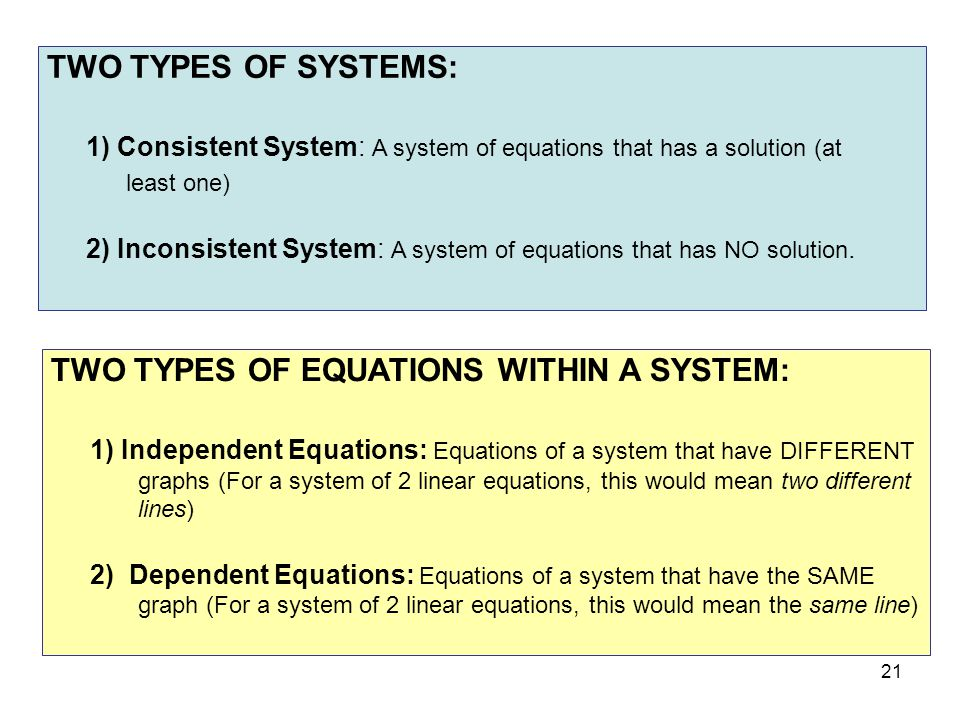 TWO TYPES OF EQUATIONS WITHIN A SYSTEM: