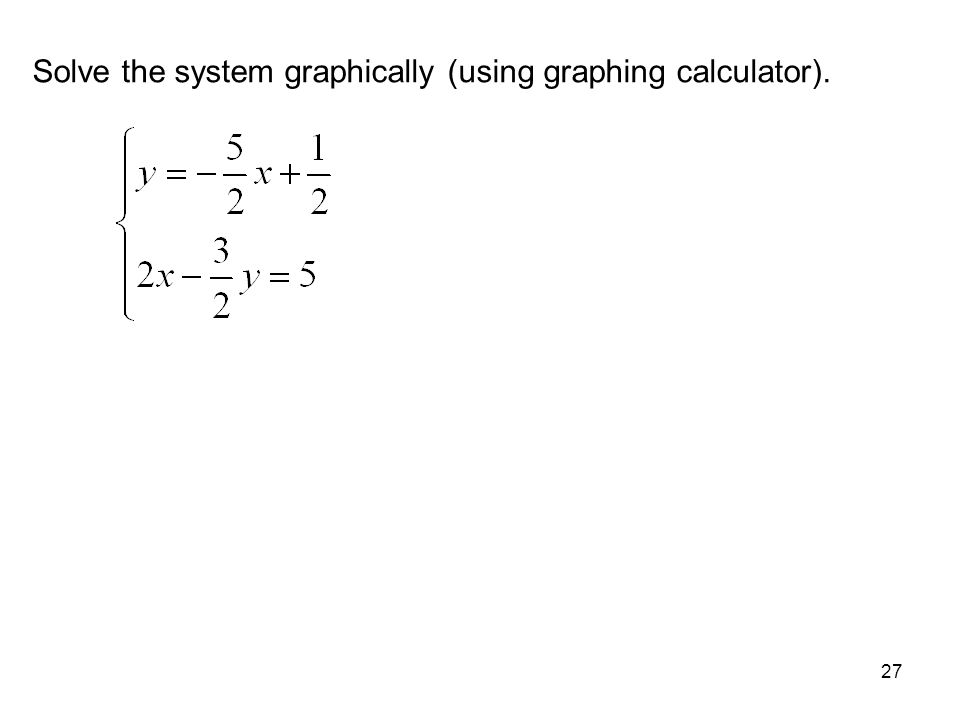 Solve the system graphically (using graphing calculator).