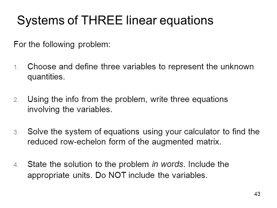Systems of THREE linear equations