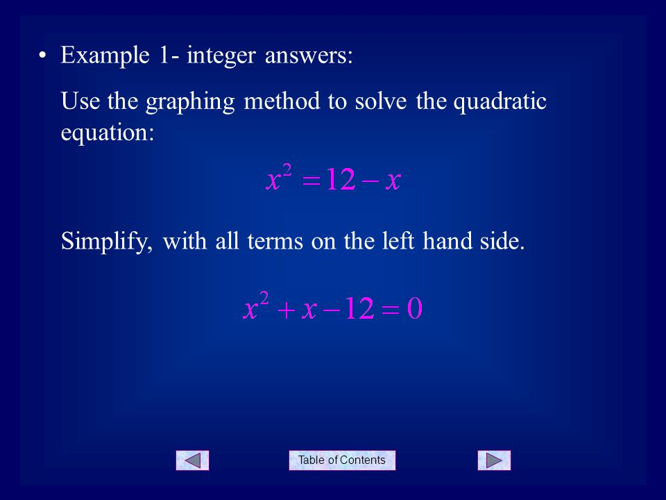 Example 1- integer answers: