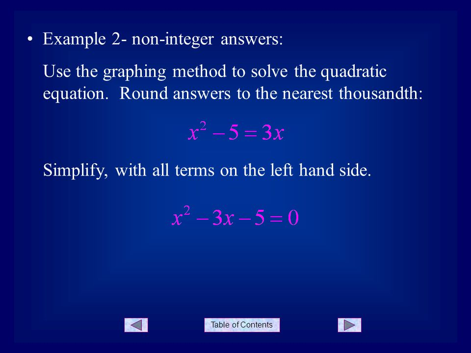 Example 2- non-integer answers: