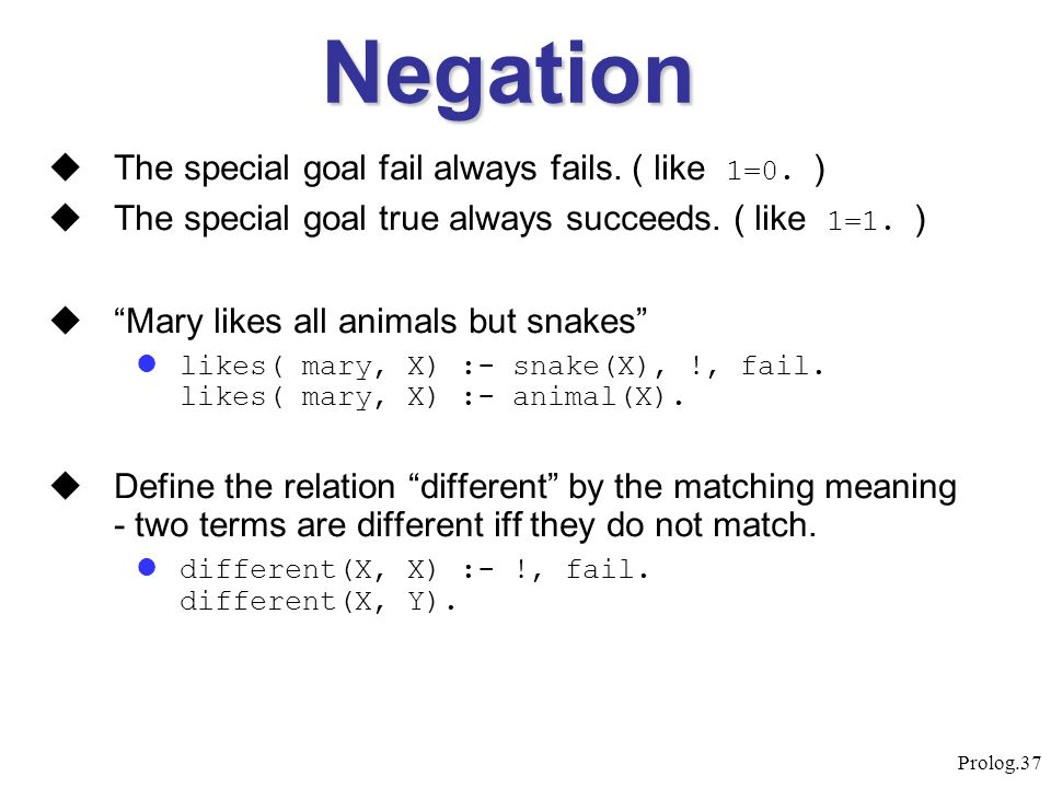 Negation The special goal fail always fails. ( like 1=0. )