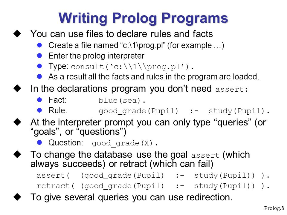 Writing Prolog Programs