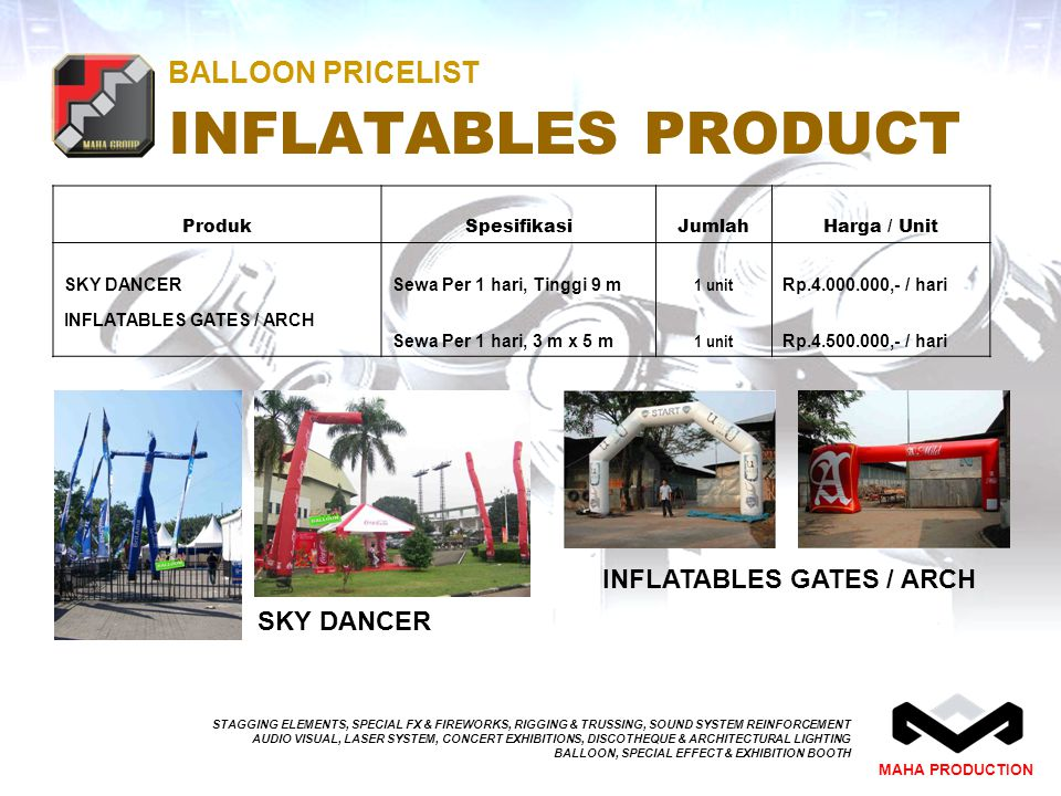 BALLOON PRICELIST INFLATABLES PRODUCT