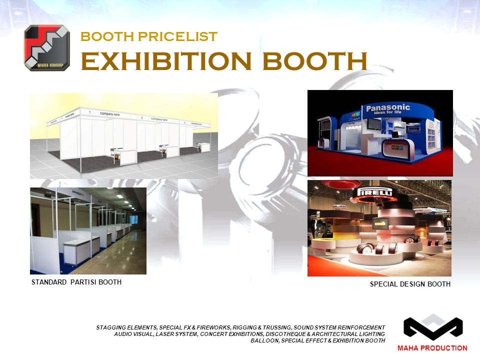 BOOTH PRICELIST EXHIBITION BOOTH
