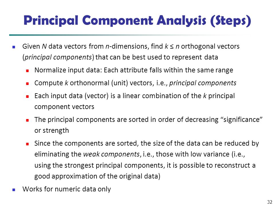 Principal Component Analysis (Steps)