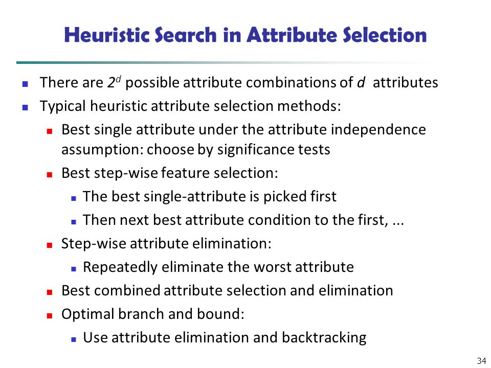 Heuristic Search in Attribute Selection