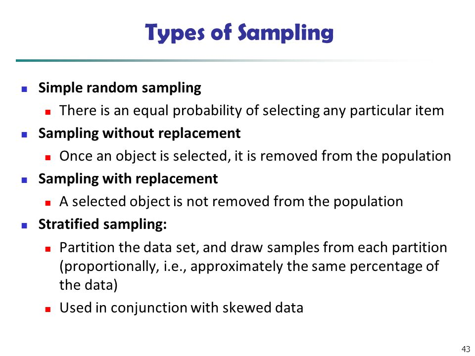 Types of Sampling Simple random sampling