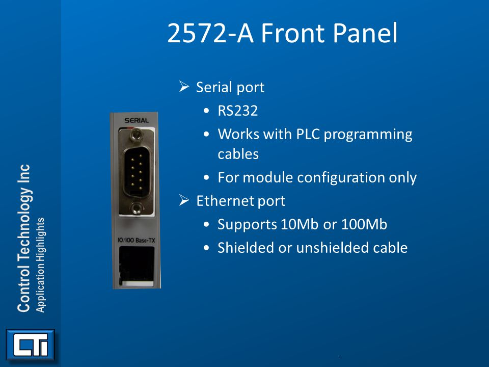 2572-A Front Panel Serial port RS232 Works with PLC programming cables