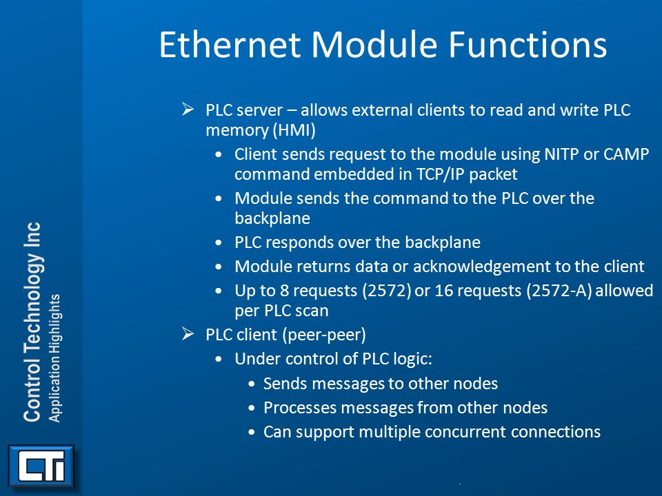 Ethernet Module Functions
