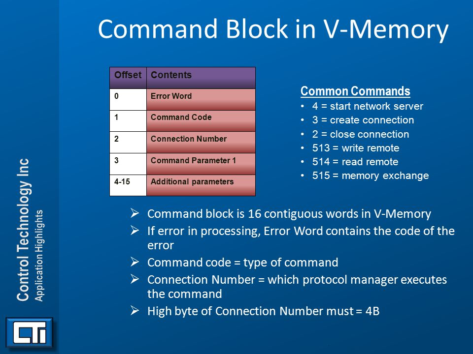 Command Block in V-Memory