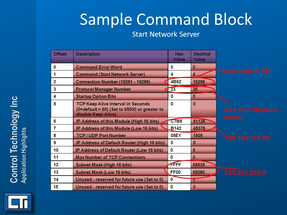 Sample Command Block Start Network Server