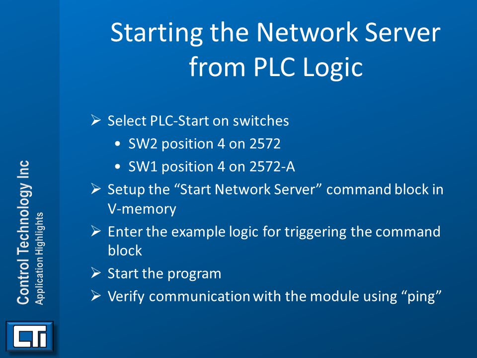 Starting the Network Server from PLC Logic