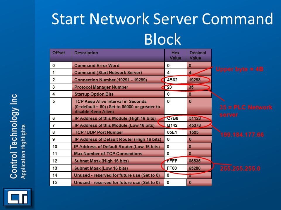 Start Network Server Command Block