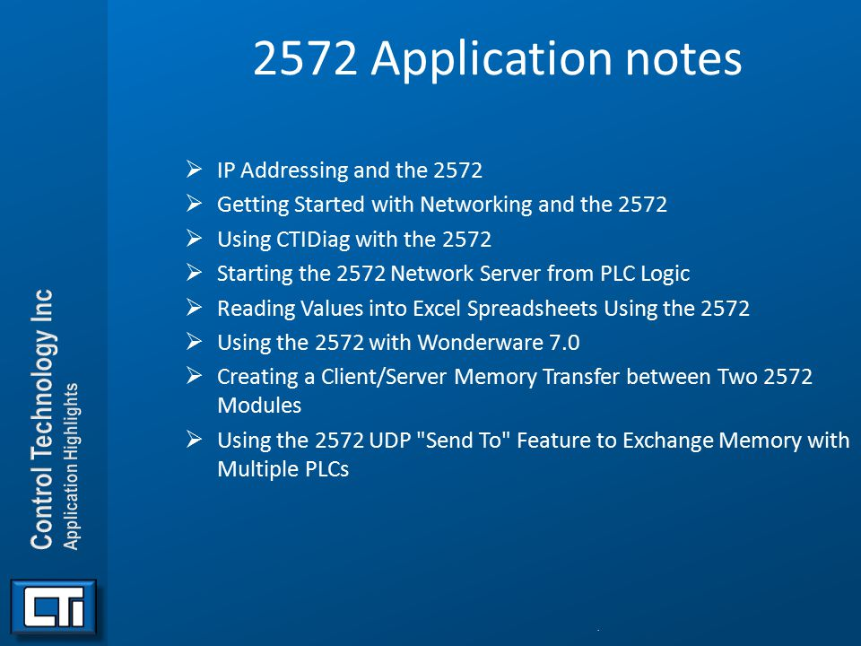 2572 Application notes IP Addressing and the 2572