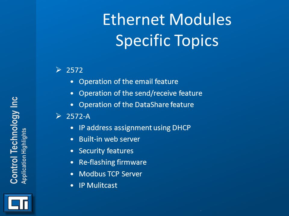 Ethernet Modules Specific Topics