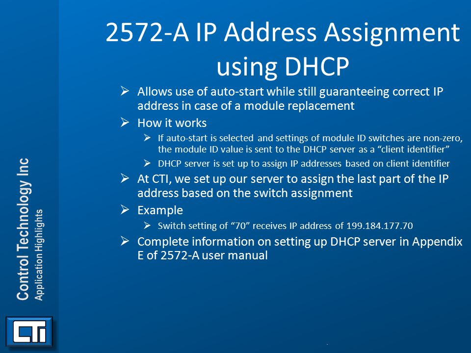 2572-A IP Address Assignment using DHCP