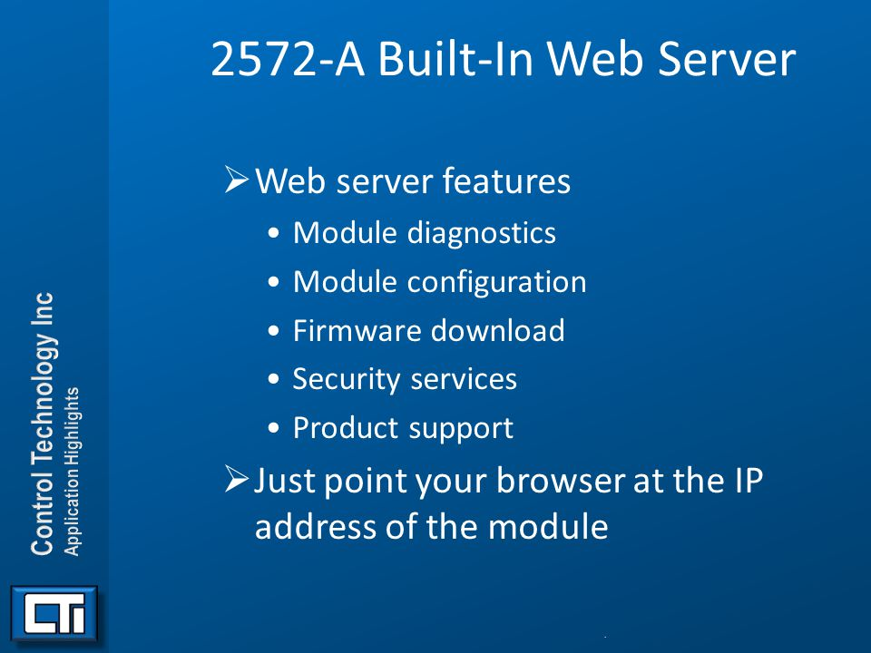 2572-A Built-In Web Server Web server features