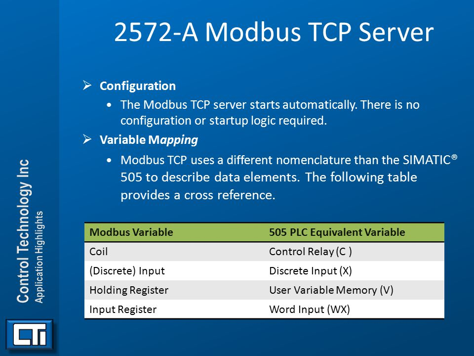 2572-A Modbus TCP Server Configuration