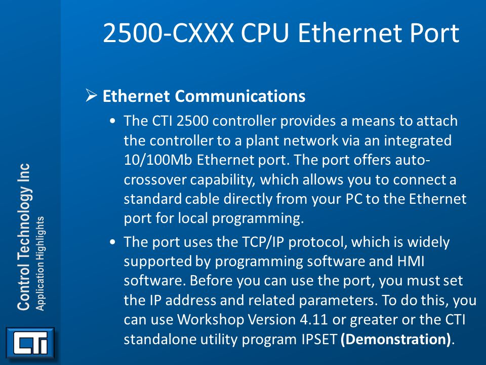 2500-CXXX CPU Ethernet Port