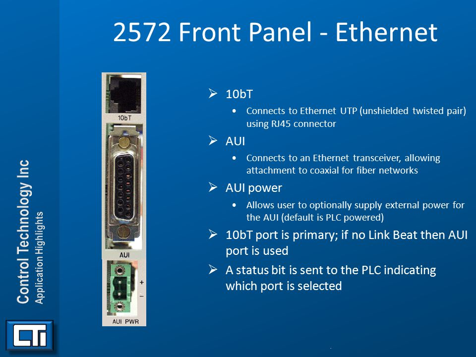 2572 Front Panel - Ethernet 10bT AUI AUI power