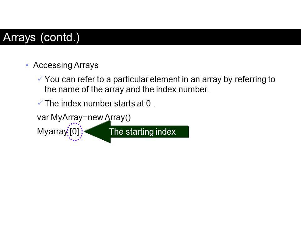 Arrays (contd.) Accessing Arrays