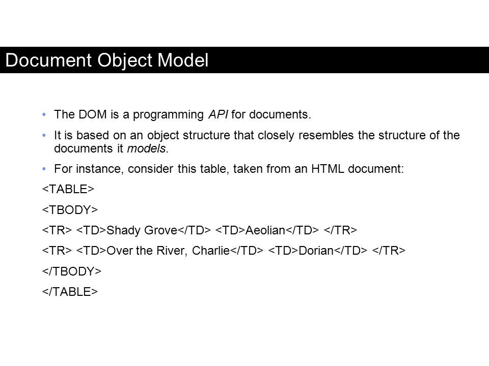 Document Object Model The DOM is a programming API for documents.