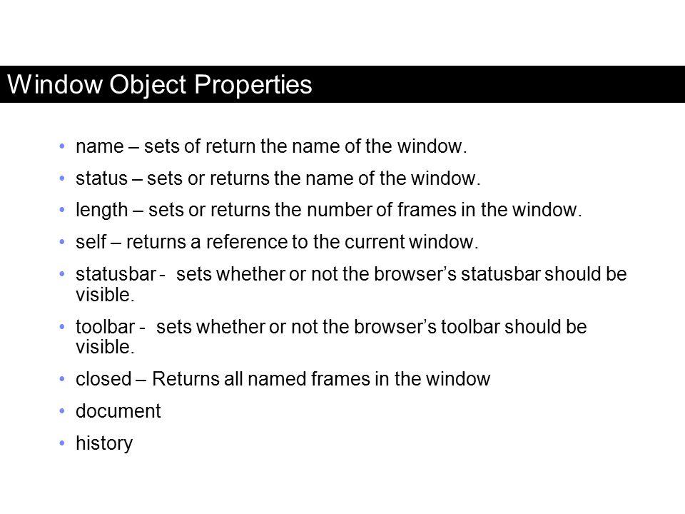 Window Object Properties