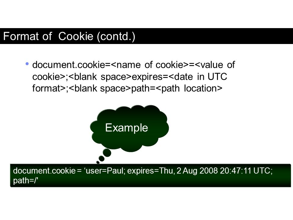 Format of Cookie (contd.)