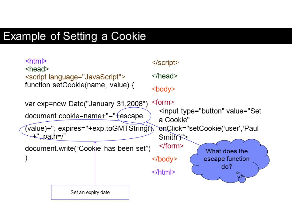Example of Setting a Cookie