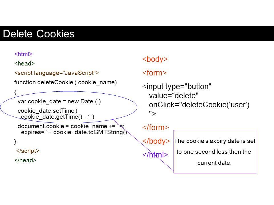 Delete Cookies <body> <form>