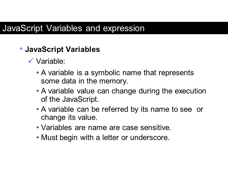 JavaScript Variables and expression