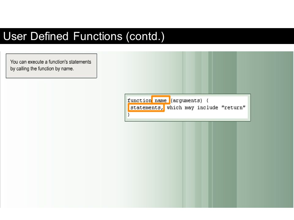 User Defined Functions (contd.)