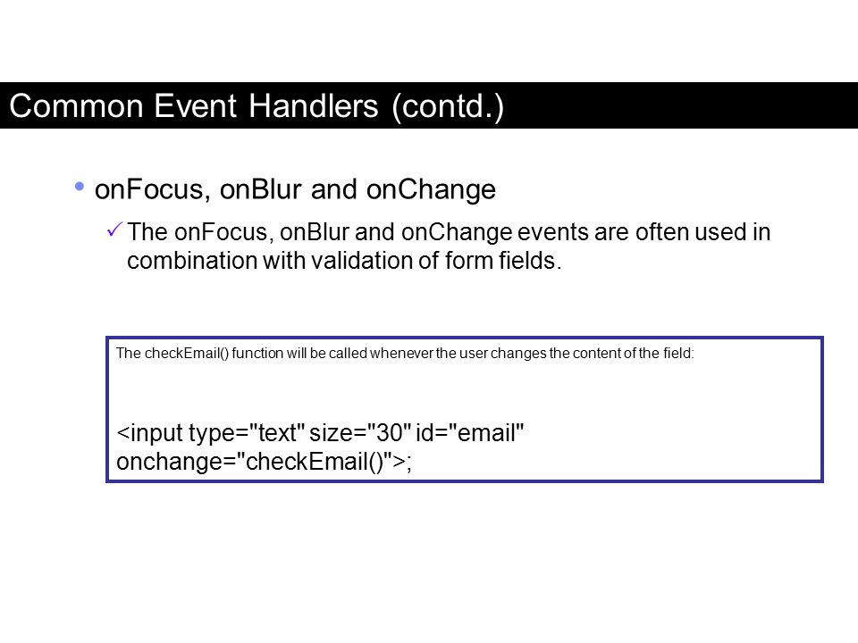 Common Event Handlers (contd.)