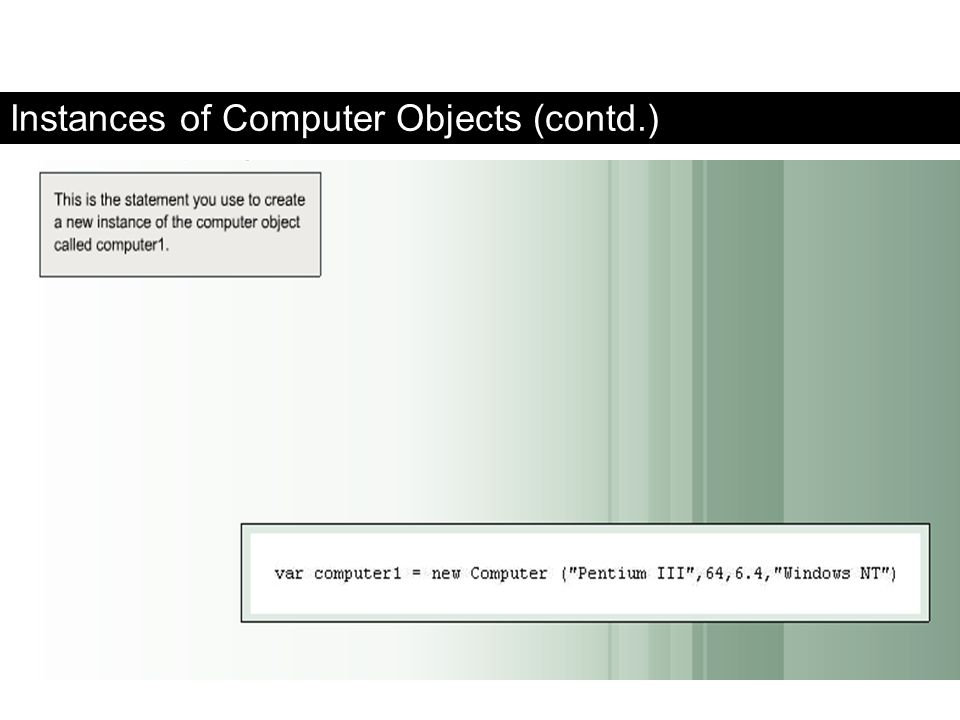 Instances of Computer Objects (contd.)