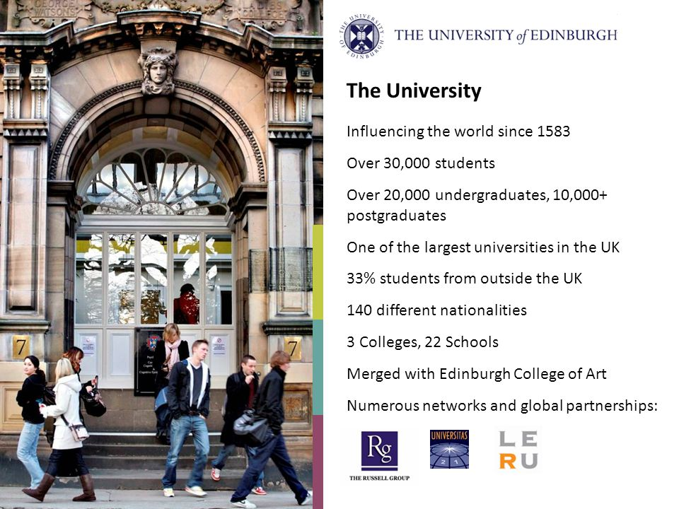 The University Influencing the world since 1583 Over 30,000 students