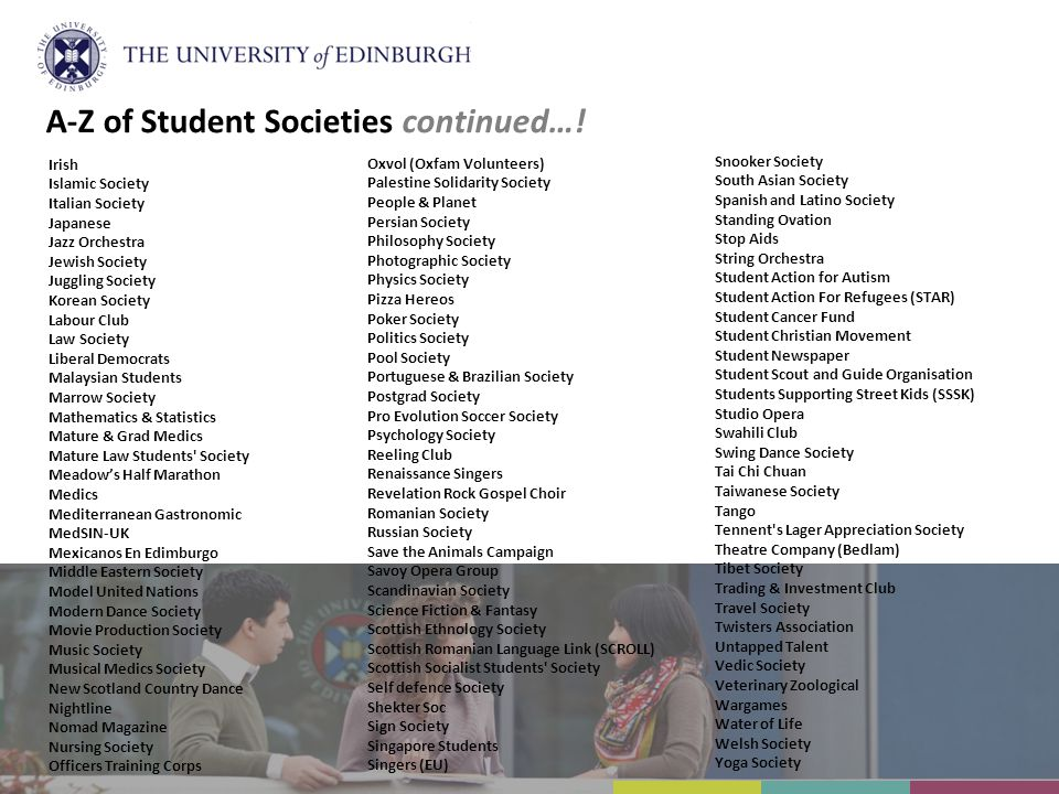 A-Z of Student Societies continued…!