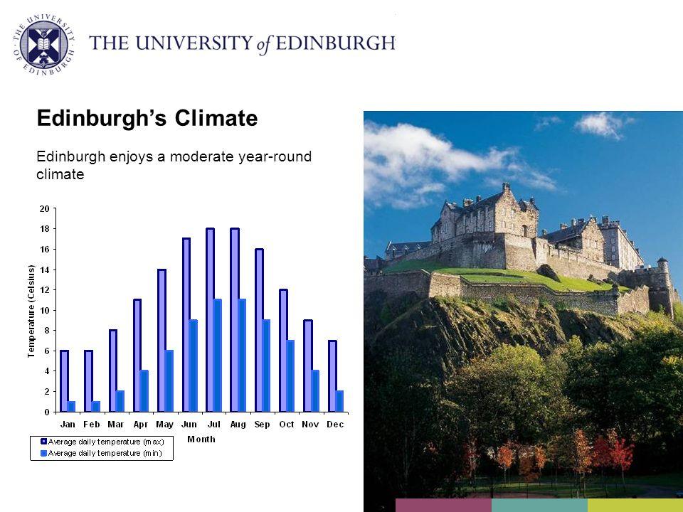 Edinburgh's Climate Edinburgh enjoys a moderate year-round climate
