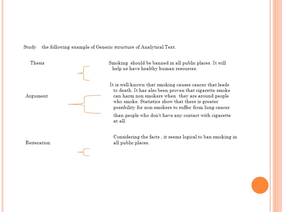 Study the following example of Generic structure of Analytical Text.