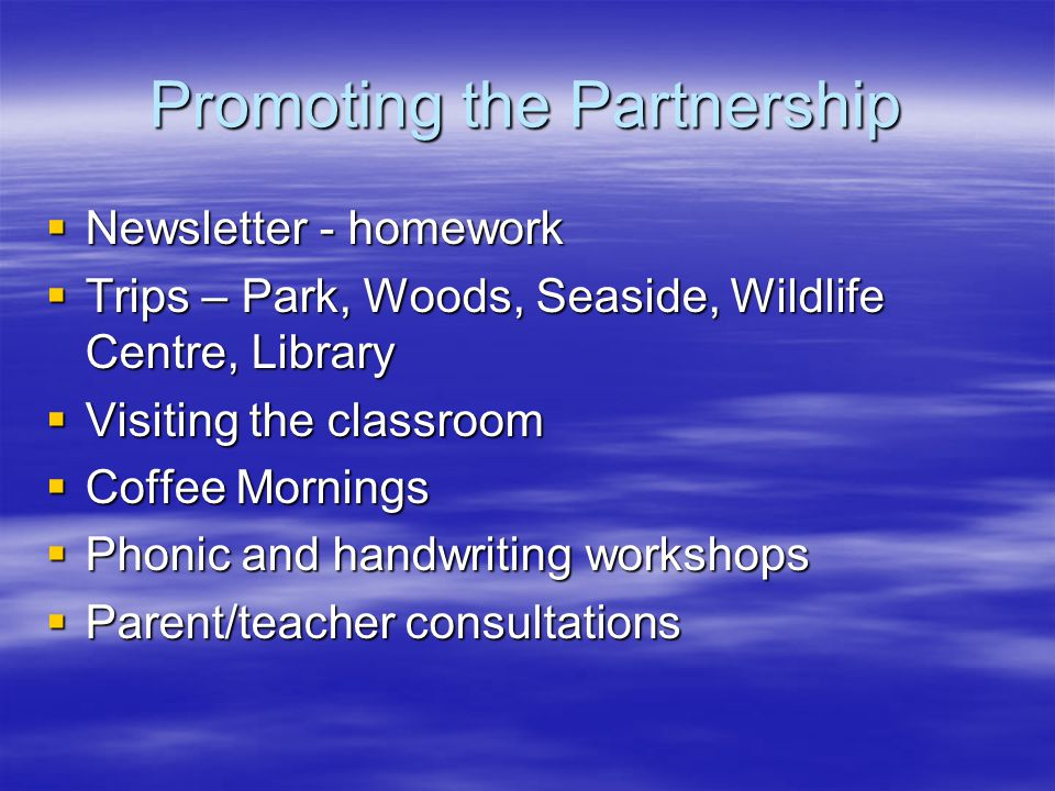 Promoting the Partnership