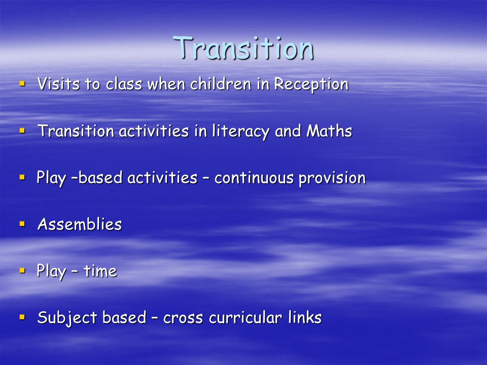 Transition Visits to class when children in Reception