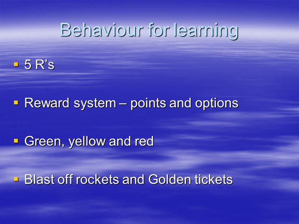 Behaviour for learning