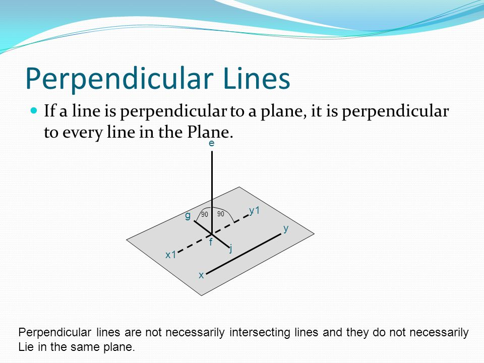 Perpendicular Lines If a line is perpendicular to a plane, it is perpendicular to every line in the Plane.