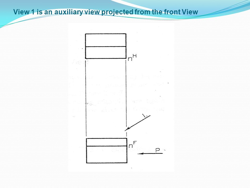 View 1 is an auxiliary view projected from the front View
