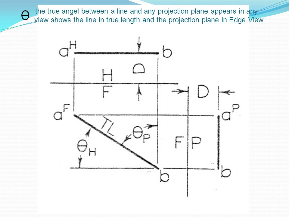 the true angel between a line and any projection plane appears in any